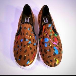 Steve Madden Leopard Paint Splatter Slip Ons